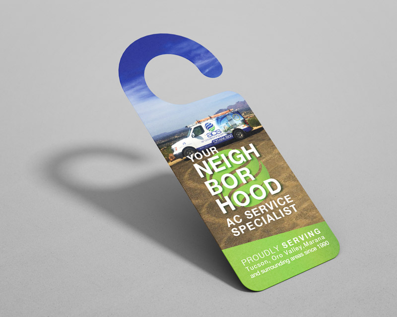 Print marketing, door hanger design for an air conditioning company