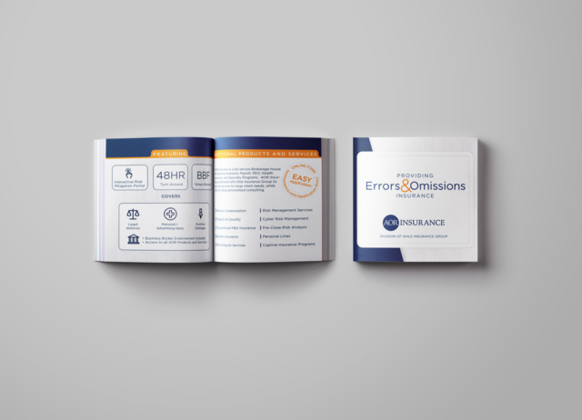 Sales brochure for insurance company specializing in error and omissions insurance