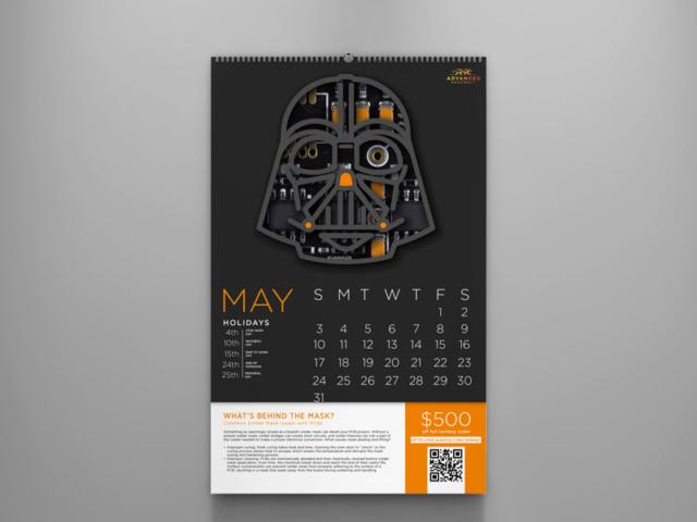 Calendar design for a circuit board company