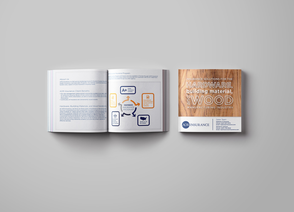 Sales Brochure for an insurance company specializing in the wood and manufacturing industry