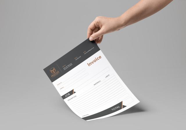 Fillable PDF invoice design for a finishing company