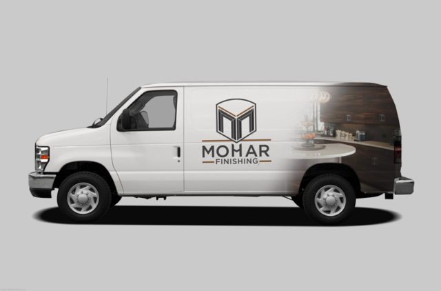 Van skin design for cabinetry and finishing company