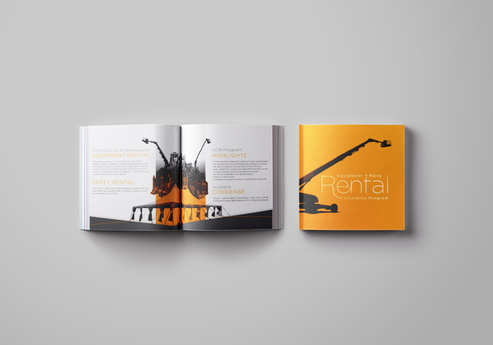 Sales Marketing Brochure for an insurance company specializing in construction equipment and party rentals