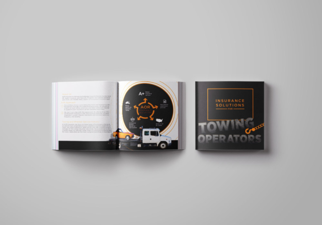 Sales brochure for a insurance company specializing in towing insurance
